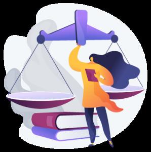 Femme devant une balance géante avec un livre à la main