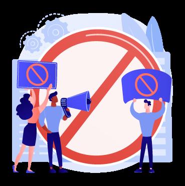 Deux hommes et une femme brandissent des panneaux d'interdiction