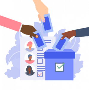 Trois mains déposent un bulletin de vote dans une urne. En arrière plan figure une lise de candidats et candidates